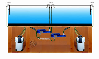Aquarium UV Sterilizer Diagrams, Two Sterilizers in water flow pattern