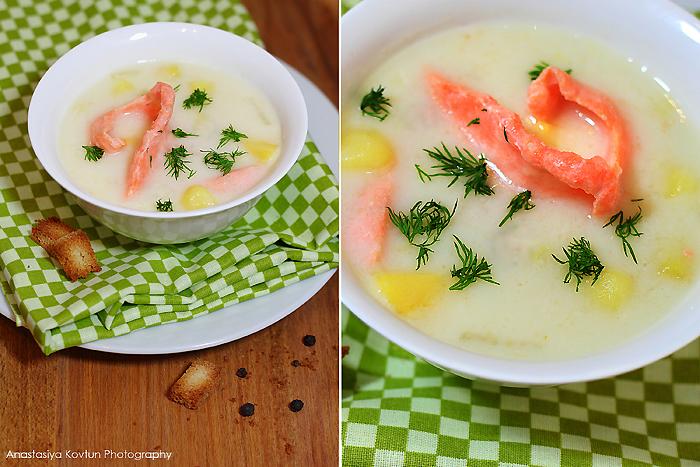 Финский суп с лососем на молоке