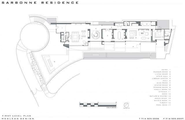 First floor plan of the modern home in Los Angeles