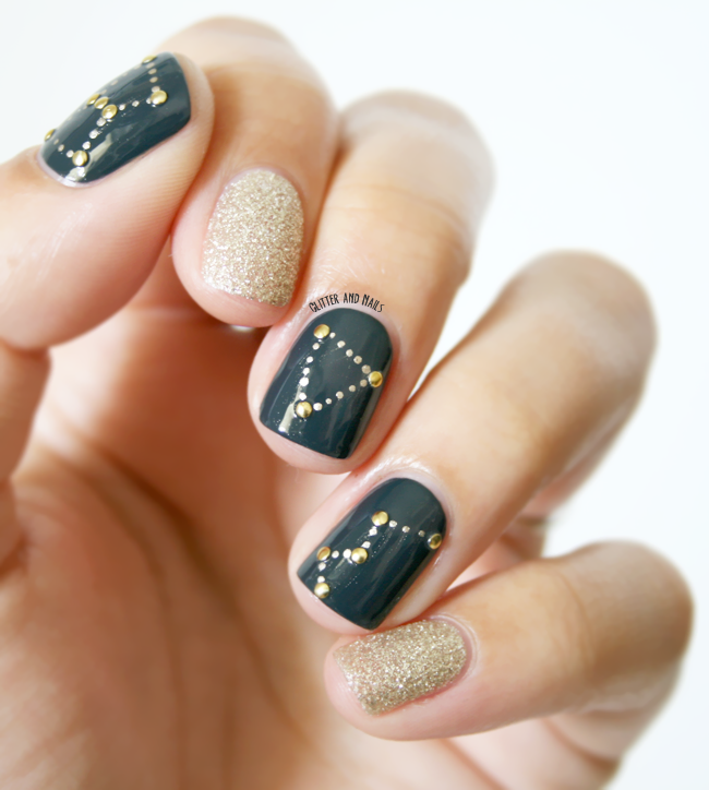 Simple Constellation Nail Art: Glitter And Nails: Constellation Nail Art // Essie Mind