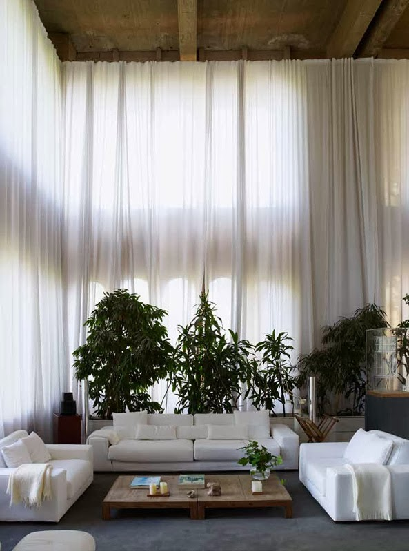 floor-to-ceiling white curtains ELLE Decoration interior design inspiration