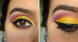 Make colorida para o Carnaval dicas e sugestões degrade de cores em amarelo e roxo