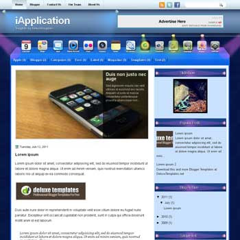 iApplication blogger template. template blogspot magazine style. download template tech blogger template