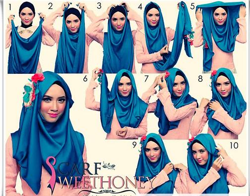 Kreasi hijab Untuk Wajah Lonjong