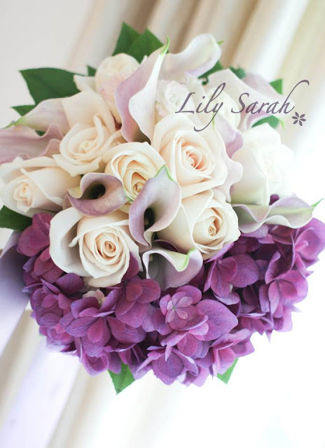 hydrangea, calla lily and rose bouquet by Lily Sarah