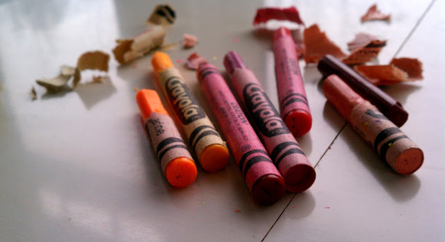 Crayons, orange and red