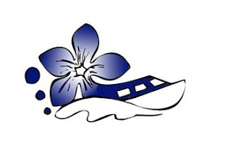 logo of Ballyvaughan Bay Hop:  a small rib-style boat, emerging from a blue wild-flower