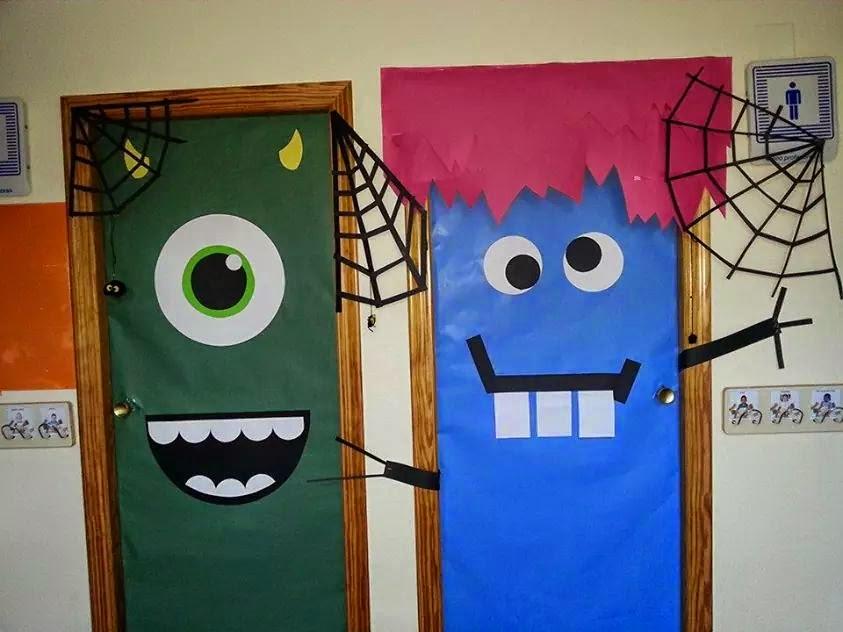 Peque basilio puertas terrorificas entra si te for Puertas decoradas halloween calabaza