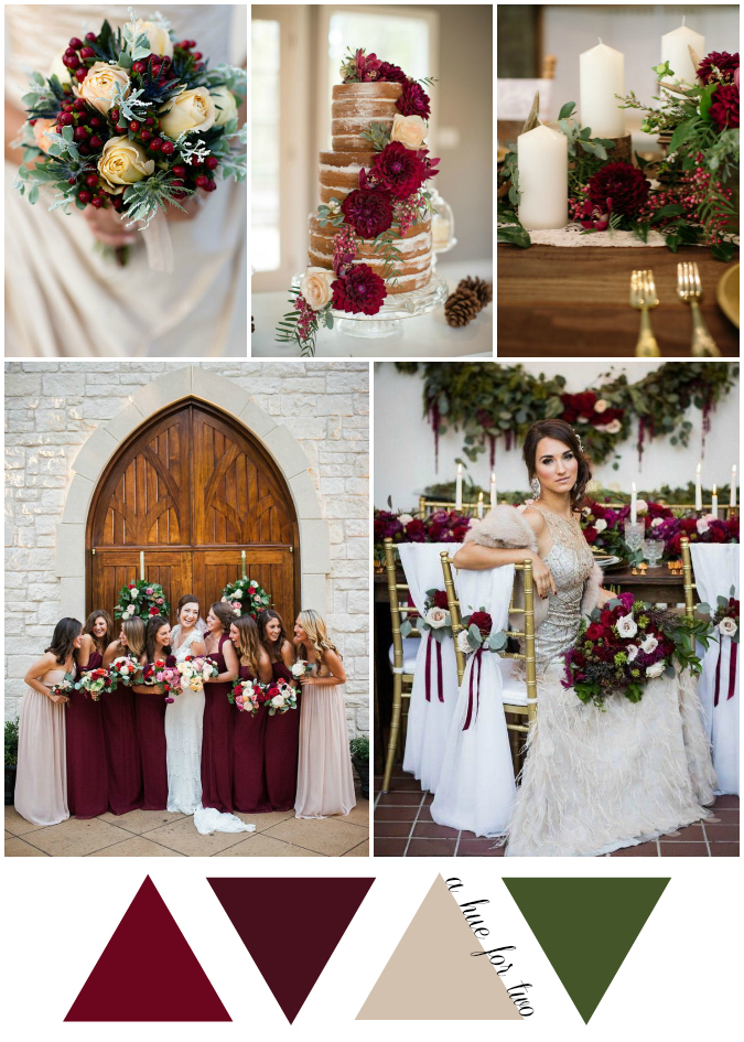 Cranberry and Champagne Christmas Wedding Colour Scheme | A Hue ...