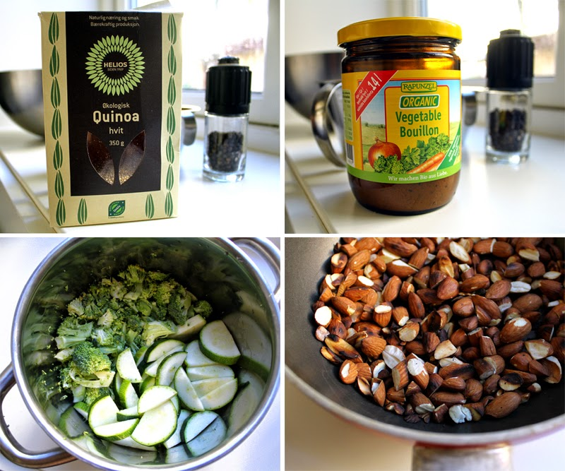 Oppskrift Quinoasalat Mettende Salat Brokkoli Squash Mandler Vegansk Buljong