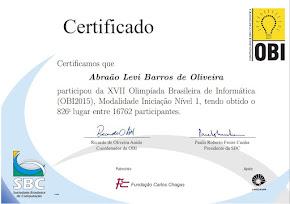 1º Lugar na escola - 826 do Brasil na OBI nível 1 de 16.762 participantes