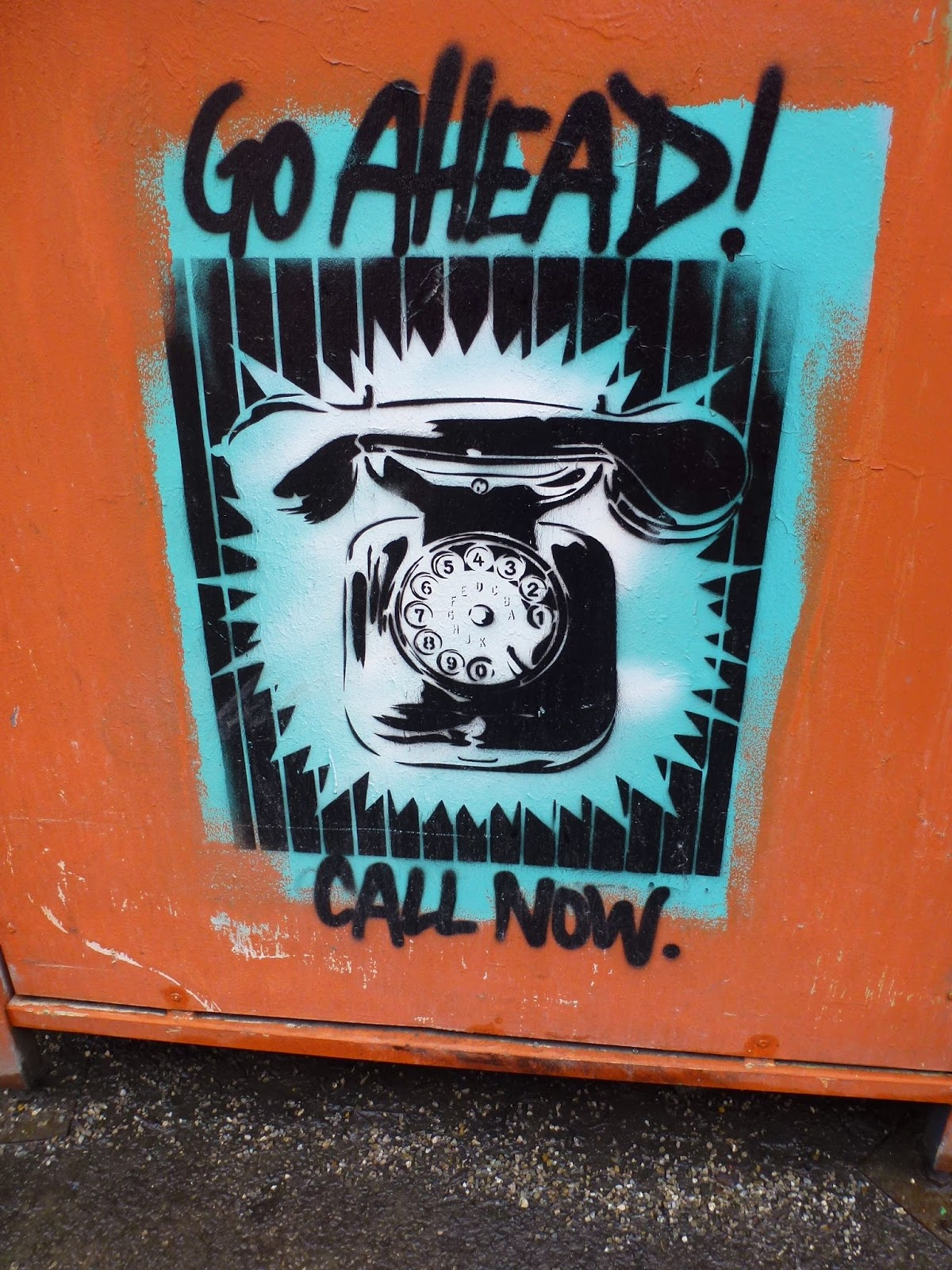 GO AHEAD! || CALL NOW. Kunstpark Ost, Stencils