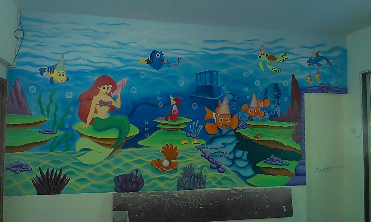 Pre school classroom wall murals vile parle santacruz for Classroom wall mural