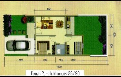 denah rumah type 36 lahan luas