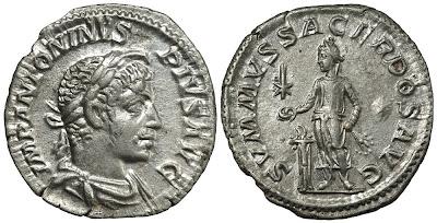 Silver denarius of Elagabalus. SVMMVS SACERDOS AVG. RCV (2002) 7549; RIC IV 146; BMCRE V p.565, 232. 18x19mm, 2.7g.