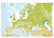 Mapas físicos mudos de Europa, España y Andalucía. 1. Mapa físico de Europa (mapa europa fisico mudo)