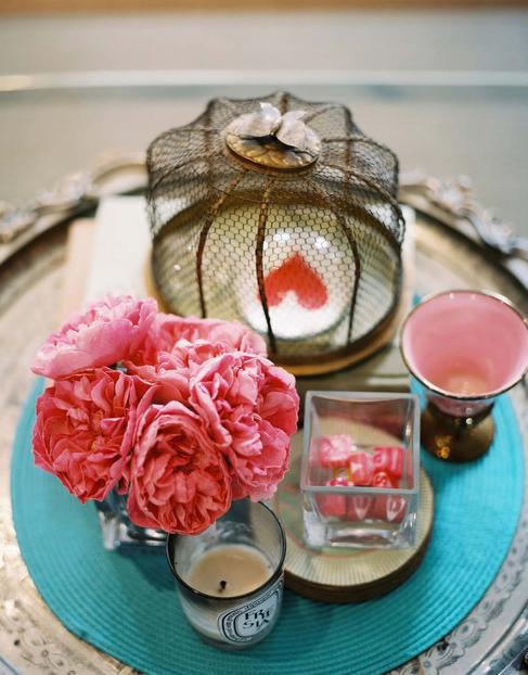 pink, peony, peonies, heart, turquoise, decor, valentine, valentine's day
