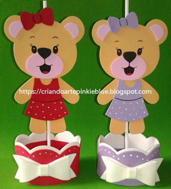 Centro de mesa ursinha de vestido