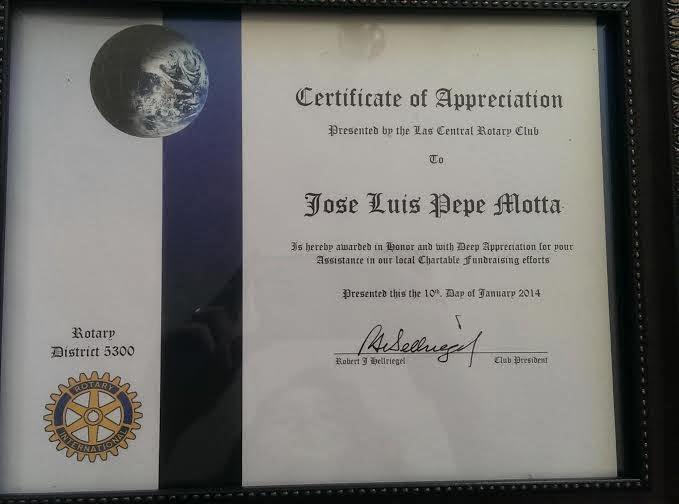 Reconocimiento del Rotary Club de Las Vegas
