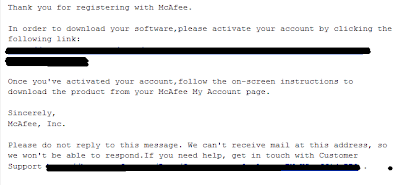 McAfee Confirmation Email