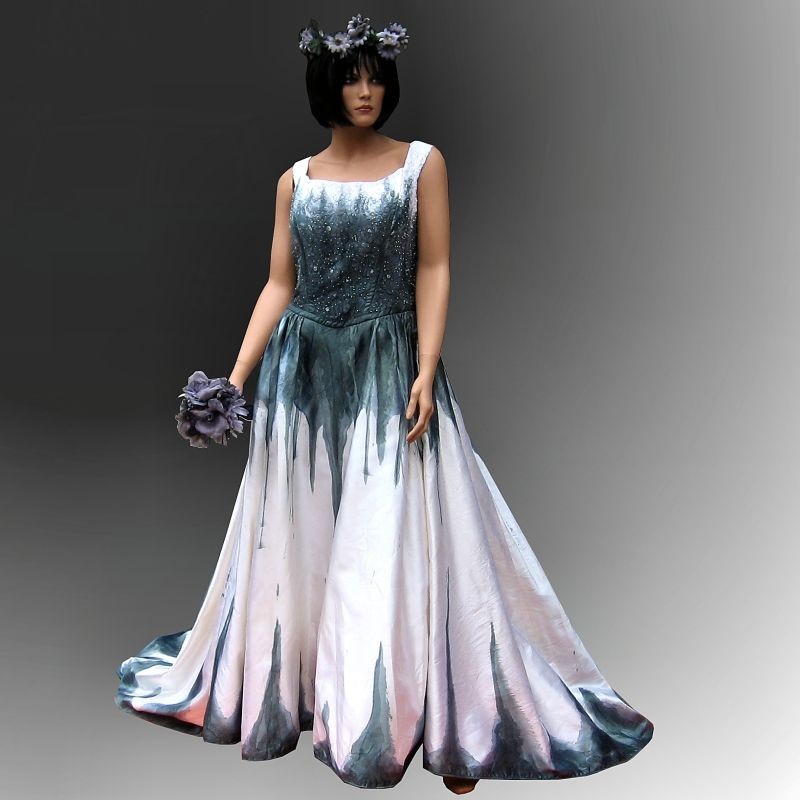 Gothic wedding dress with stunning hand painted handmade for Blue gothic wedding dresses