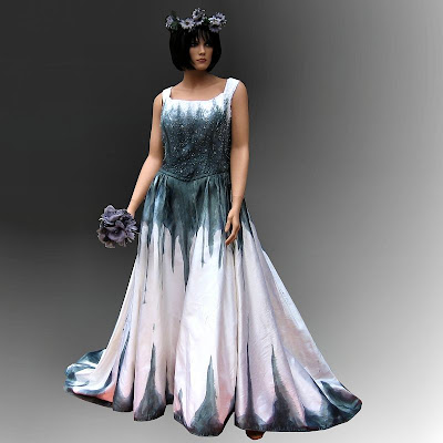 Gothic Wedding Gown with Stunning Hand Painted