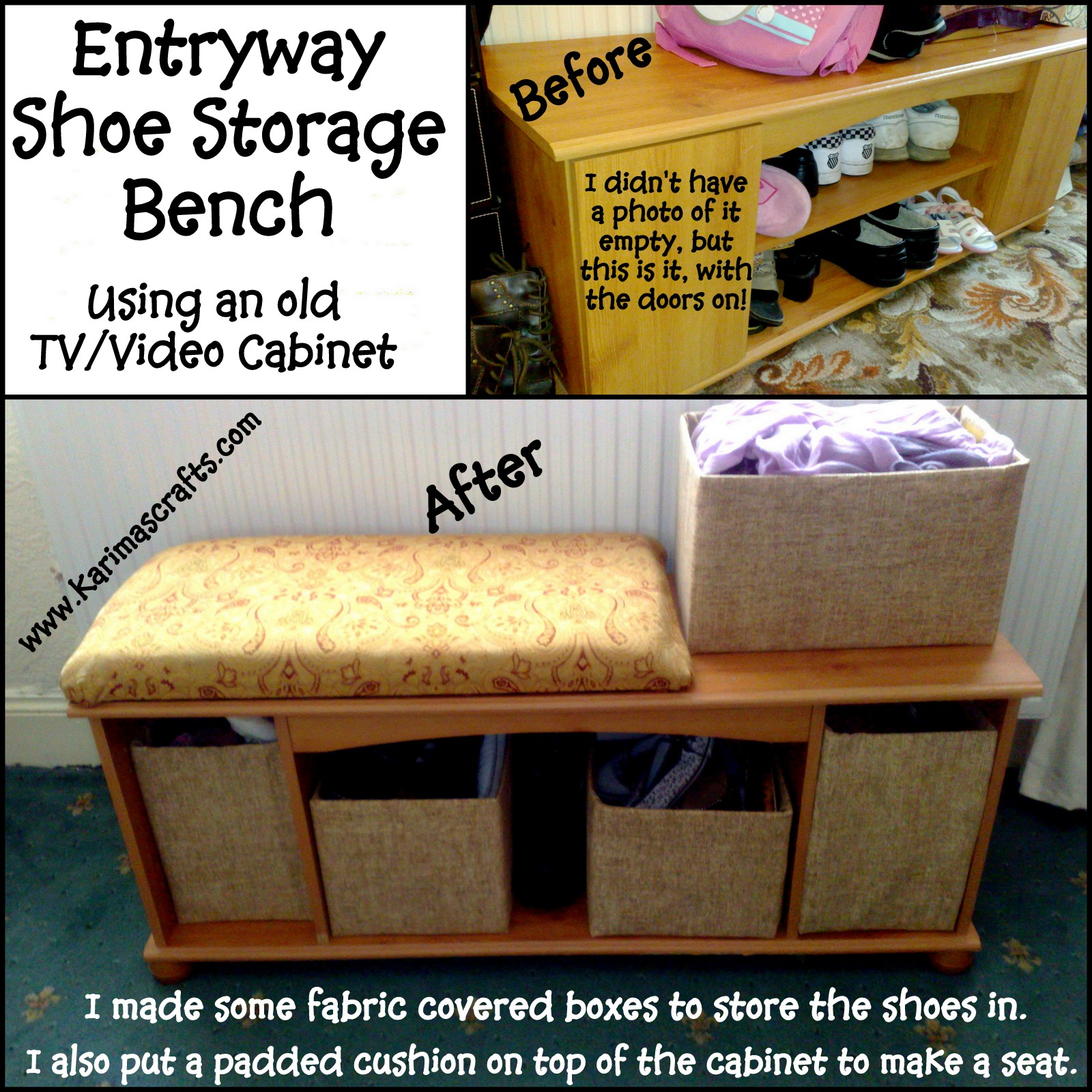 Karima's Crafts: Entryway Storage Bench using a TV/Video Cabinet ...