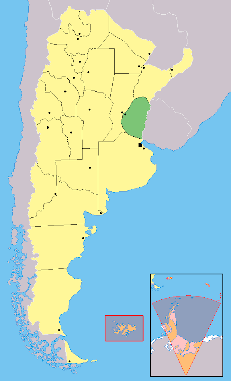 Mapa de localização da província de Entre Rios - Argentina
