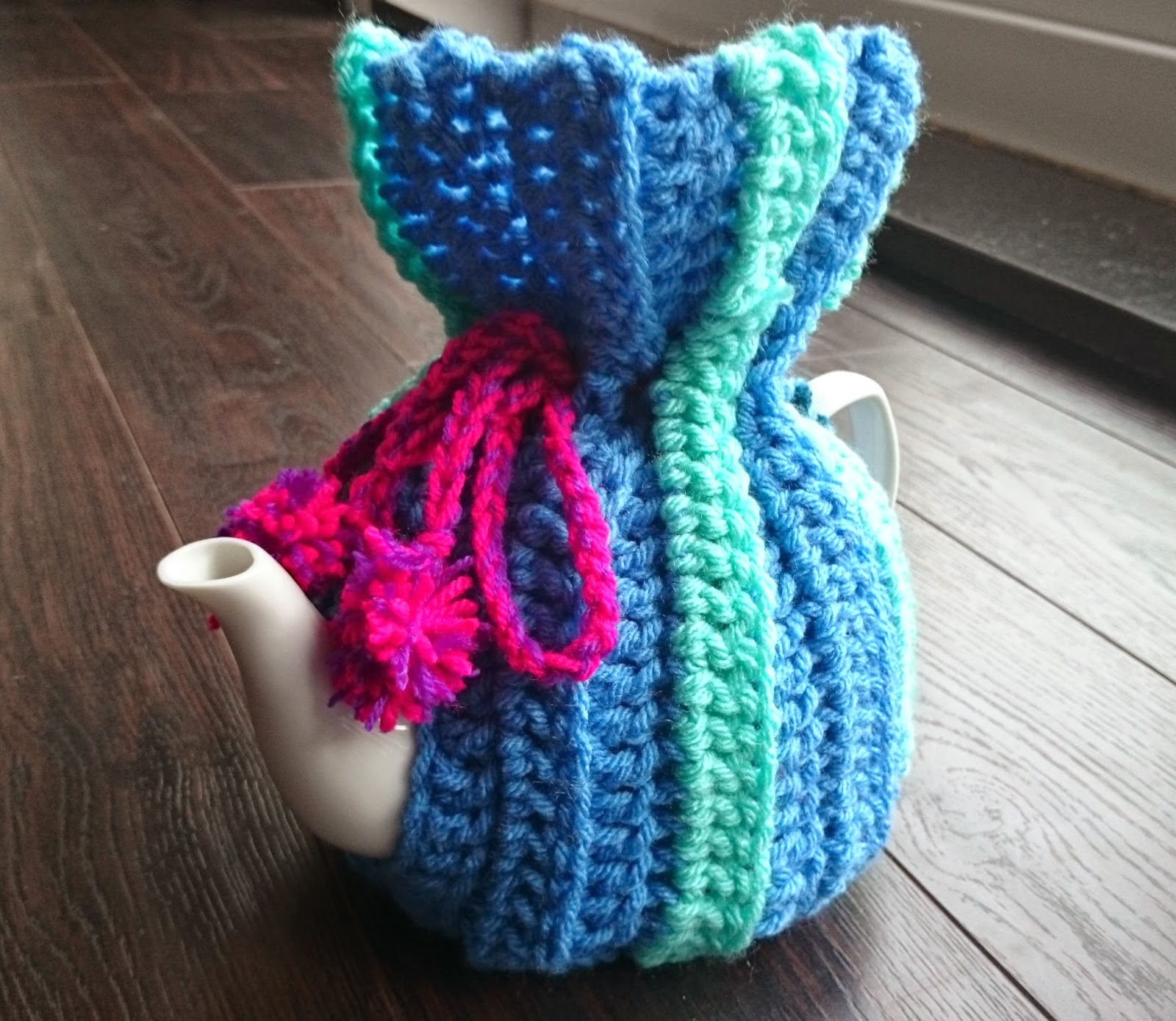 crochet tea cosy teapot handmade blue green pink purple yarn wool