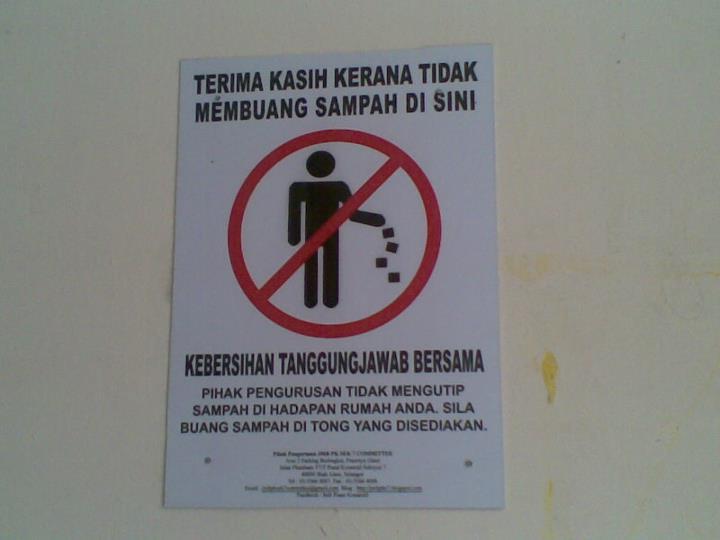 Badan Pengurusan Bersama Jmb Pusat Komersil Seksyen 7 Shah Alam Pemasangan Notis Jangan Buang Sampah