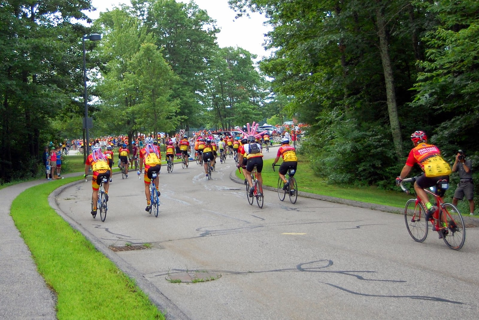 PMC riders arrive at Remington-Jefferson water stop