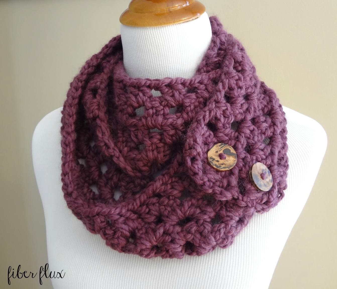 Free Crochet Pattern For Button Wrap : Fiber Flux: Free Crochet Pattern...Fiona Button Scarf!