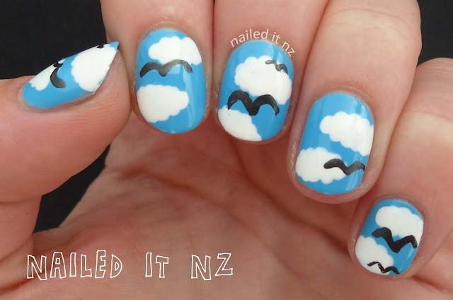 Nail design sky blue sky blue shiny nail art polish enamel gel nail design sky blue prinsesfo Gallery