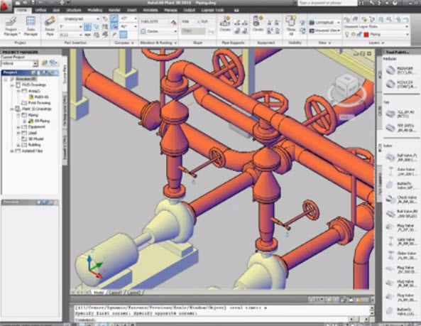 Sample 3d and 2d plant plant piping systems with autocad software drawing and graphics 3d drawing software