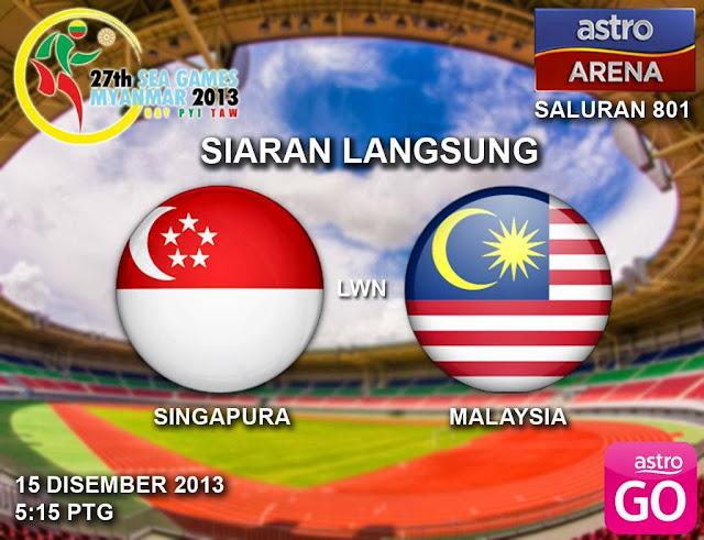Malaysia vs Singapura Sukan SEA 15 Disember 2013 | Astro Arena