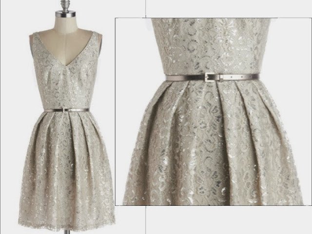 Silver holiday dress, Modcloth