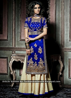 Blue-n-Beige Lehenga Cum Palazzo Suits / Embroidered Double Bottom Shalwar Suit