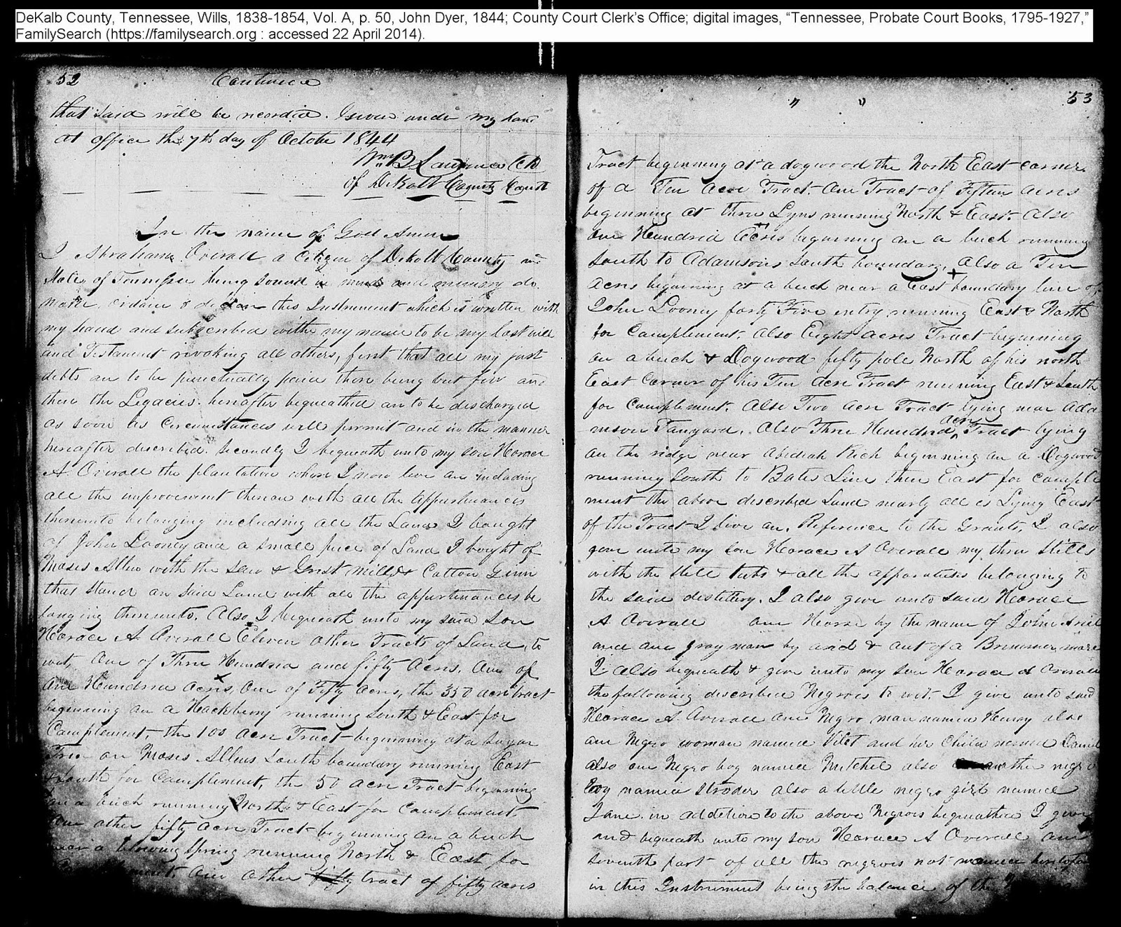Will of John Dyer, DeKalb Co., TN, 1844, p. 53