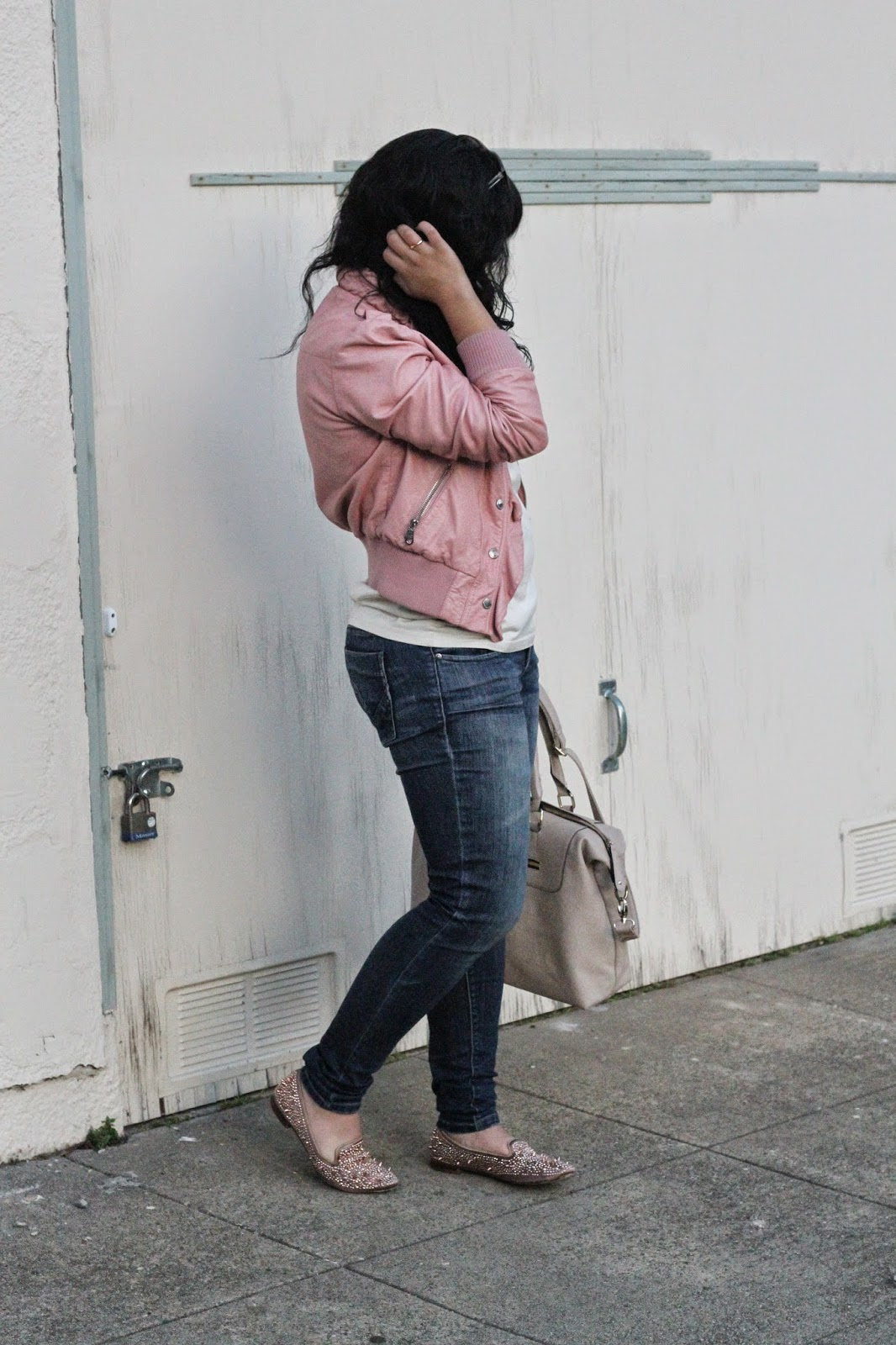 Pink Leather Jacket and Jeans