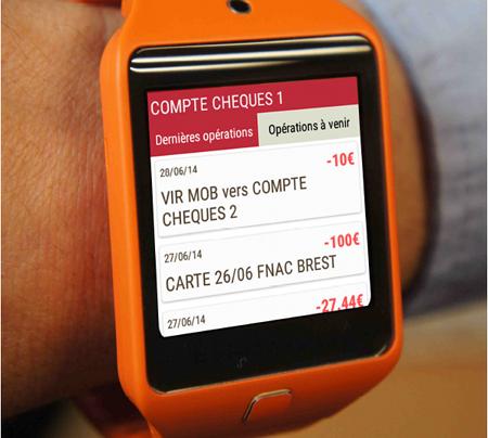 Application Crédit Mutuel Arkéa sur montre connectée