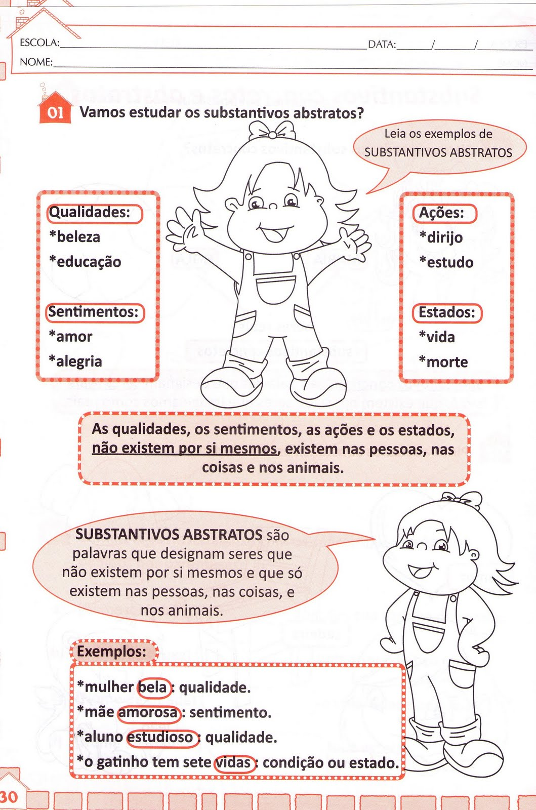 Substantivos Concretos E Abstratos Exercicios Professora Marlene  -> Atividades Com Substantivos Simples E Composto 4 Ano