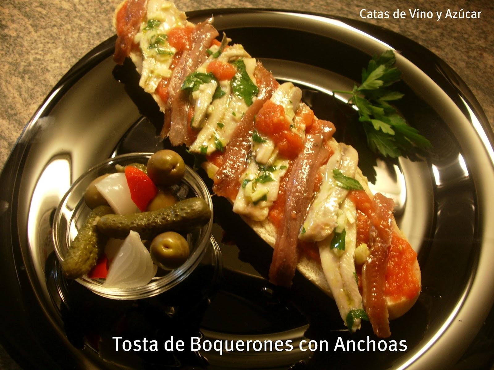 Catas de vino y az car tosta de boquerones con anchoas - Calorias boquerones en vinagre ...