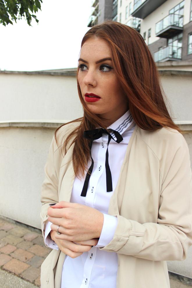 H&M Beige Mac coat and Boohoo Culottes