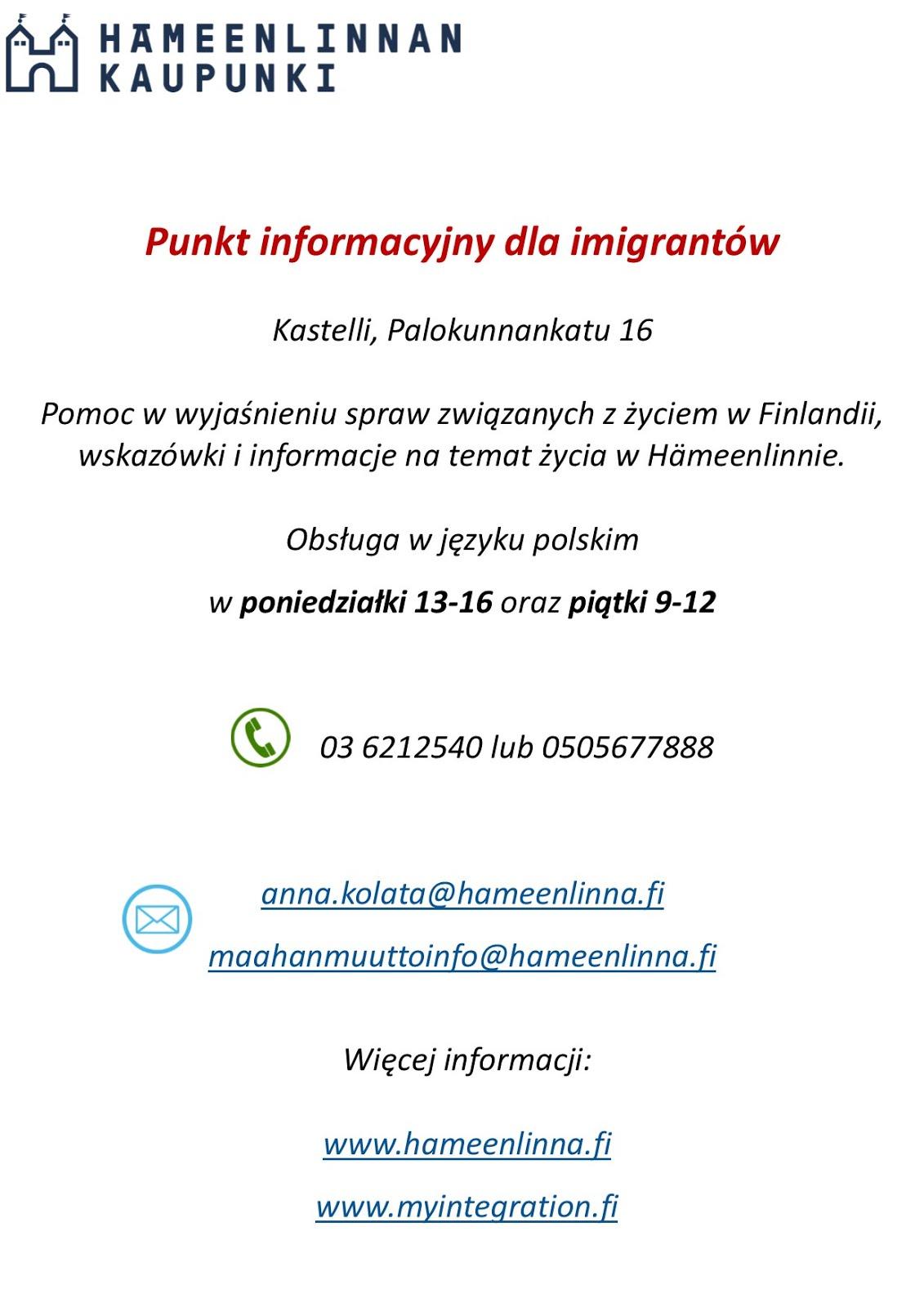 Info dla Polaków w Hämeenlinnie