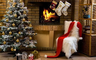 Christmas Holiday Tree Fireplace Gifts HD Wallpaper
