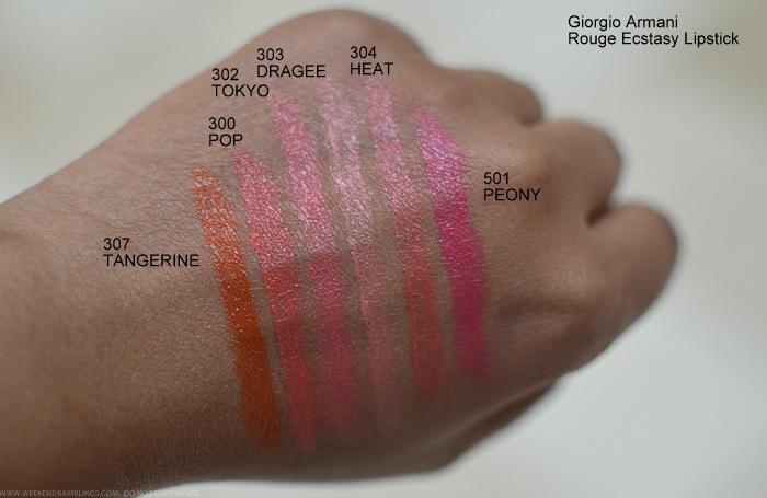Giorgio Armani Rouge Ecstasy Lipstick Swatches 307 Tangerine 300 Pop 302 Tokyo 303 Dragee 304 Heat 501 Peony