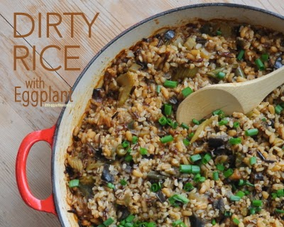 Cajun Dirty Rice with Eggplant (vegan)