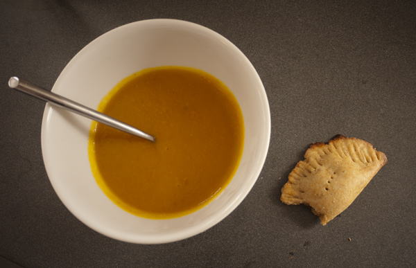 Easy pumpkin soup and pumpkin black bean empanada