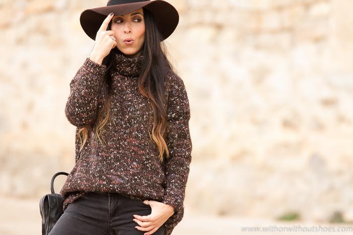 Blogger de moda española de Valencia con look abrigado de invierno