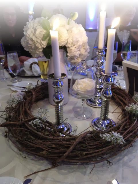 silver candlesticks, silver wedding, hydrangea centerpiece, wreath centerpiece